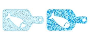 Polygonal 2D Mesh Fish Cutting Board och mosaisk symbol royaltyfri illustrationer