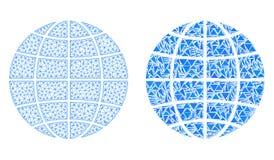Polygonal 2D Mesh Globe och mosaisk symbol vektor illustrationer