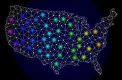 Polygonal 2D Mesh Map av Förenta staterna med ljusa ljusa fläckar vektor illustrationer
