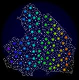 Polygonal 2D Mesh Map of Drenthe Province with Bright Light Spots. Mesh vector map of Drenthe Province with glare effect on a dark background. Light spots have stock illustration