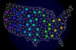 Polygonal 2D Mesh Map of United States with Bright Light Spots vector illustration