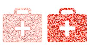 Polygonal 2D Mesh Medical Kit Case och mosaisk symbol vektor illustrationer