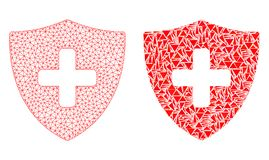 Polygonal 2D Mesh Medical Shield and Mosaic Icon royalty free illustration