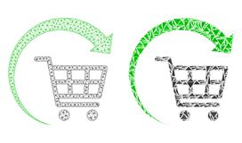 Polygonal 2D Mesh Repeat Shopping Cart och mosaisk symbol royaltyfri illustrationer