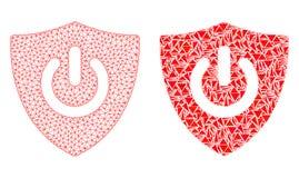 Polygonal 2D Mesh Shield Turn Off och mosaisk symbol royaltyfri illustrationer