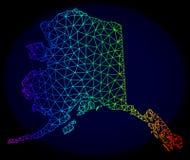 Polygonal 2D regnbåge Mesh Vector Map av den Alaska staten stock illustrationer