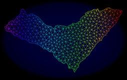 Polygonal 2D regnbåge Mesh Vector Map av det Alagoas tillståndet royaltyfri illustrationer