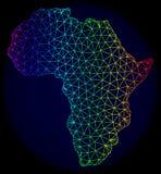 Polygonal 2D spektrum Mesh Vector Map av Afrika stock illustrationer