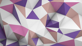 Polygonal 3D surface chaotic deformed. Polygonal surface chaotic deformed. Abstract geometric background. 3D render illustration Royalty Free Stock Photography