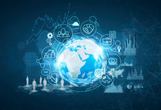 Polygonal Earth, infographics, business icons. Glowing Earth hologram is surrounded by infographics and graphs. Business icons around it. Statistics and Stock Image