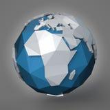 Polygonal Earth Planet. 3d polygonal style illustration of earth planet, eastern hemisphere vector illustration