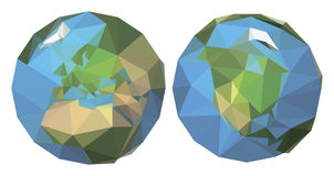 Polygonal earth. 2 sides. Royalty Free Stock Photos