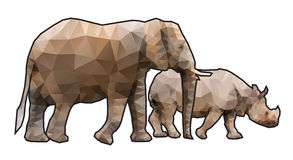 Polygonal Elephant and Rhino Stock Images