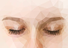 Polygonal eyes closed high precision Stock Image