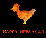 Polygonal Fire rooster image. Polygonal image Fire rooster symbol of the new year 2017 Stock Photo