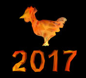 Polygonal Fire rooster and numbers 2017 new year. Isolated on a black background Stock Photography