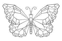 Polygonal fjäril för tatuering för fjärilsmonarksvart stock illustrationer