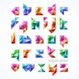 Polygonal font, alphabet Stock Image