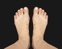 Polygonal foot captured above on black background Stock Photography