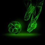 Polygonal Football Kickoff illustration. Soccer player hits the ball. vector illustration