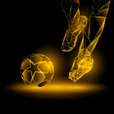 Polygonal Football Kickoff illustration. Soccer player hits the ball. Royalty Free Stock Photos