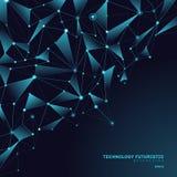 Polygonal former för abstrakta trianglar på mörkt - blå bakgrund som består av linjer och punkter i form av planeter och vektor illustrationer