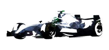 Polygonal formula racing car, abstract vector illustration. Polygonal silver formula racing car, abstract isolated vector illustration. Geometric low poly racing Royalty Free Stock Photography