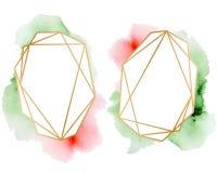 Polygonal frames set. Gold glitter triangles, geometric shapes. Diamond shape. Stock Image