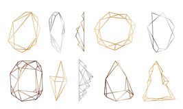 Polygonal frames set. Gold, silver, black glitter triangles, geometric shapes. Diamond shape. Royalty Free Stock Image