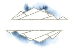 Polygonal frames set. Silver glitter triangles, geometric shapes. Diamond shape. Royalty Free Stock Photos