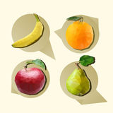 Polygonal fruit. Fruit set of polygons. Banana, orange, apple, pear. Vector illustration Royalty Free Stock Photos
