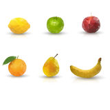 Polygonal fruits Stock Photos
