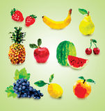 Polygonal fruits Illustration Stock Photos