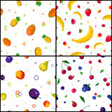 Polygonal Fruits 4 Seamless Patterns Icons Royalty Free Stock Images