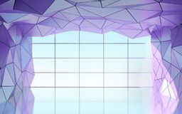 Polygonal futuristic hall with window. Abstract polygonal futuristic hall with window, geometric architecture. 3d illustration Stock Image