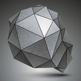 Polygonal galvanize 3d abstract object, grayscale. Asymmetric technology element  on white background Stock Images