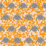 Polygonal geometric abstract rabbit seamless pattern vector back Royalty Free Stock Image