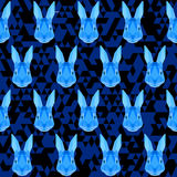 Polygonal geometric abstract rabbit seamless pattern vector back Stock Images
