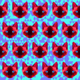 Polygonal geometric abstract  siamese cat seamless pattern backg Royalty Free Stock Image