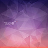 Polygonal geometric background. Abstract vector polygonal geometric background with purple and pink gradient backdrop like sunset royalty free illustration