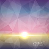 Polygonal geometric background with sun flash effect. Abstract polygonal geometric background with sun flash effect on gradient backdrop like dawn effect Stock Photo