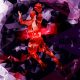 Polygonal geometric basketball vector background with a player s Stock Images