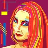 Polygonal geometric portrait of girl in WPAP style Stock Photos