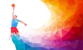 Polygonal geometric style illustration of a basketball player jump shot jumper shooting jumping viewed from the side set. Polygonal geometric professional Stock Image