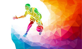 Polygonal geometric style illustration of a basketball player jump shot jumper shooting jumping viewed from the side set Royalty Free Stock Photography