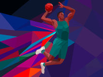 Polygonal geometric style illustration of a. Polygonal geometric professional basketball player on colorful low poly background doing jump shot with space for vector illustration