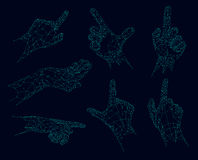 Polygonal gestures, Futuristic low poly hands vector illustration. Elements for design Royalty Free Stock Image