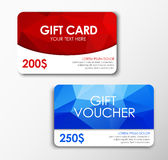 Polygonal gift card and voucher Stock Images