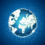 Polygonal globe on blue background Stock Photo