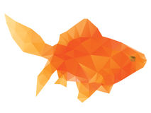Polygonal Gold Fish. Abstract bright polygonal gold fish on white background stock illustration